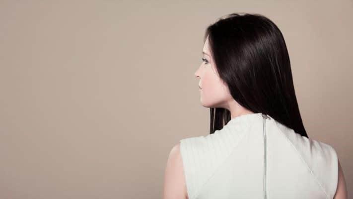 woman high neck top